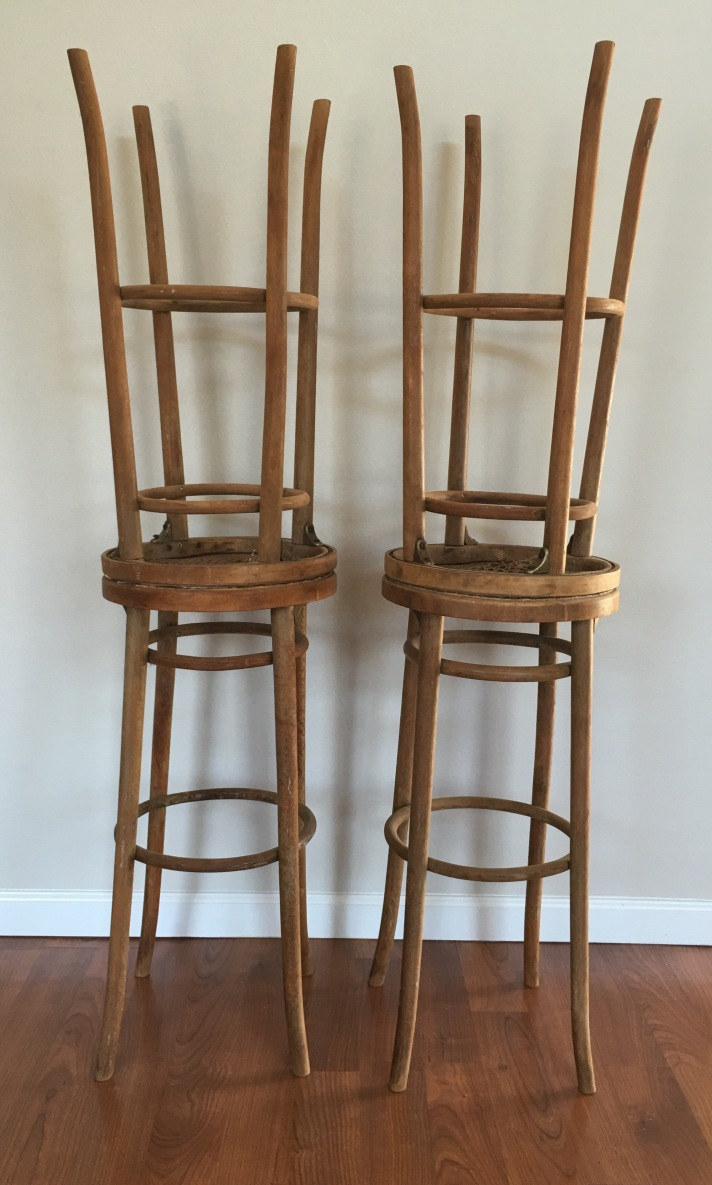 Bentwood Paris Bar Stools. Furniture for up cycling. Vintage furniture which needs repair. Cane Barstools with woven cane or wicker seats