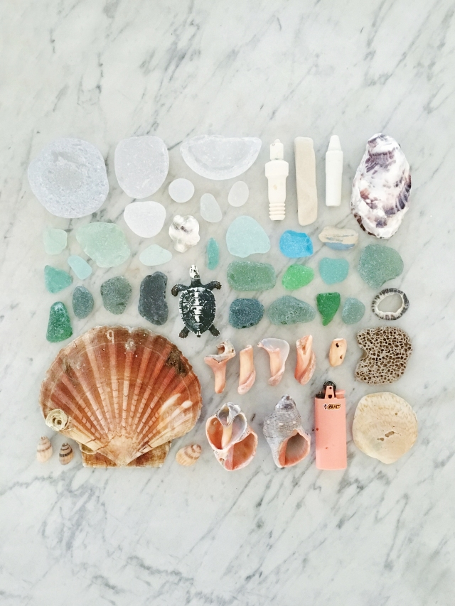 Beach combing trash - turning the findings into beautiful flat lay artwork. Collection of plastics off beach. Colored plastic collected to make photography artwork. Becca Kudela Grettenberger - designer and artist.