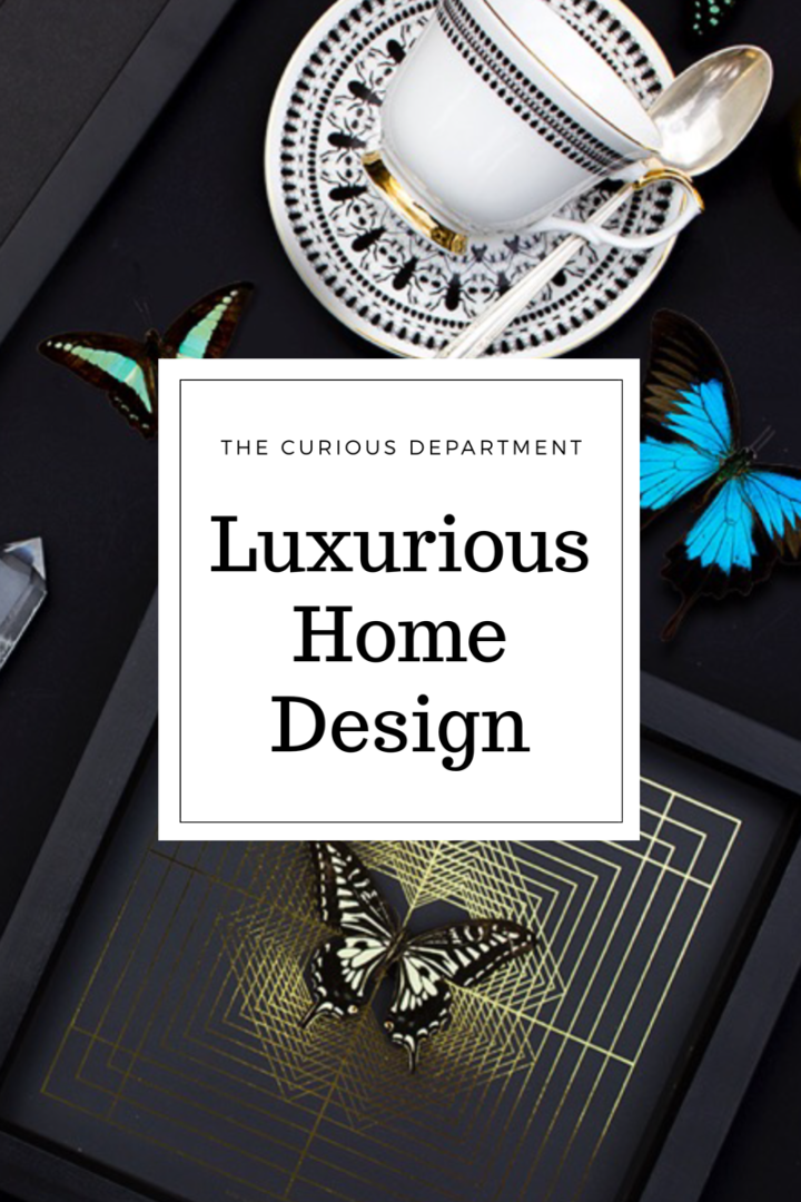 Luxurious home design with butterflies, gold foil, bone china and art deco design. The Curious Department - UK design team. Locally produced and ethically sourced home goods.