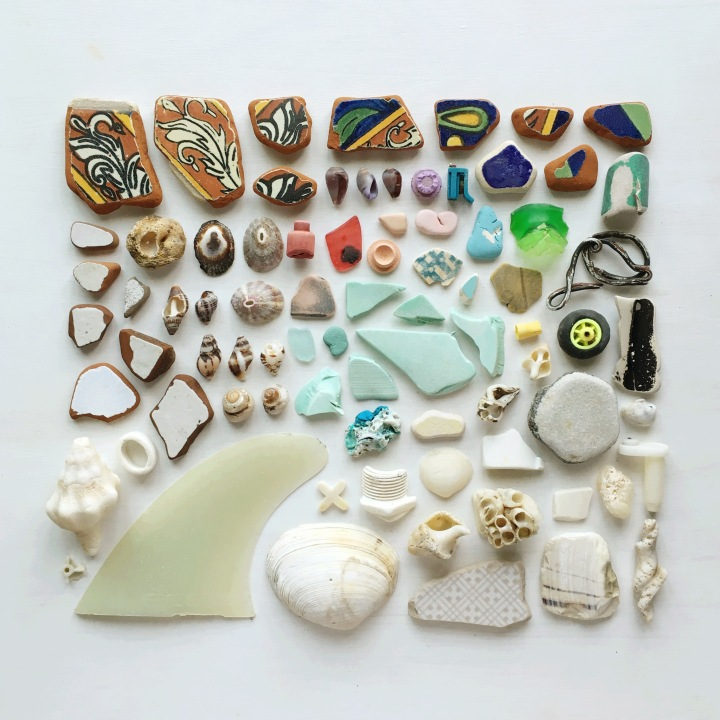 Beachcombing finds made into lovely flat lay presentations. Flat lays by Becca Kudela Brettenburger - designer and beach clean up enthusiast living in Biarritz, France.