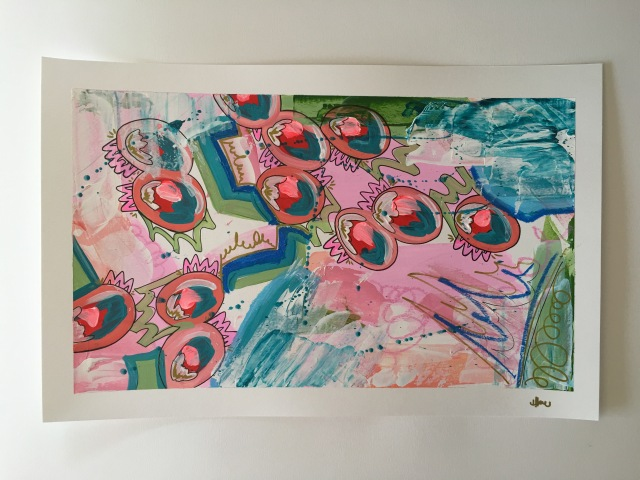 New Artwork - fresh mixed media piece. Acrylic, pen, ink and foil leaf on weighted paper by Heather KW
