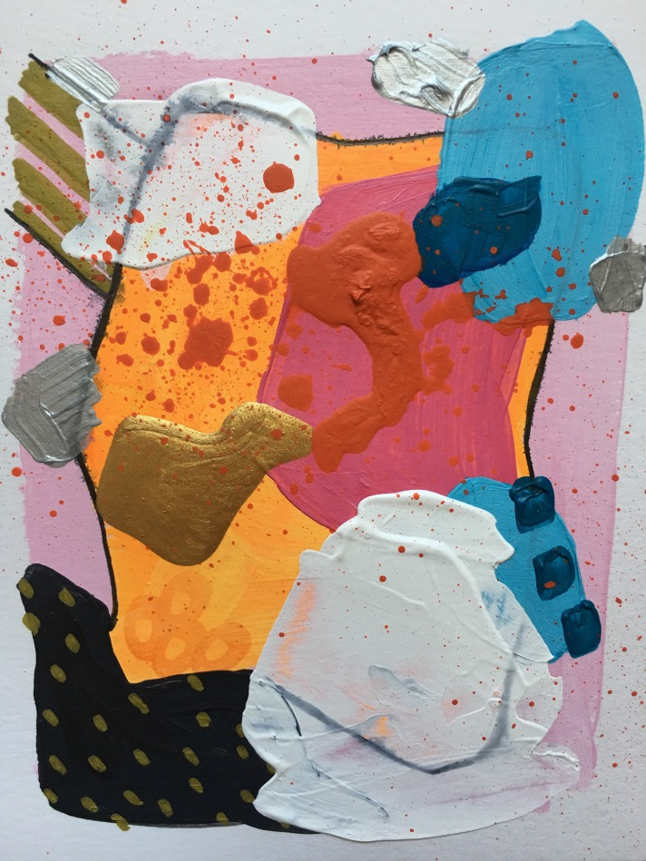 Abstract, mixed media work by artist Heather Knight-Willcock of CaliRose Lifestyle. Mixed media on paper, Acrylic abstract - bold colors and patters.