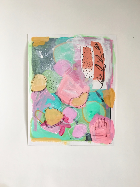 """This collection of contemporary abstract art paintings is created by California based artist Heather Knight-Willcock. Mixed Media on paper, 11x14"""""""