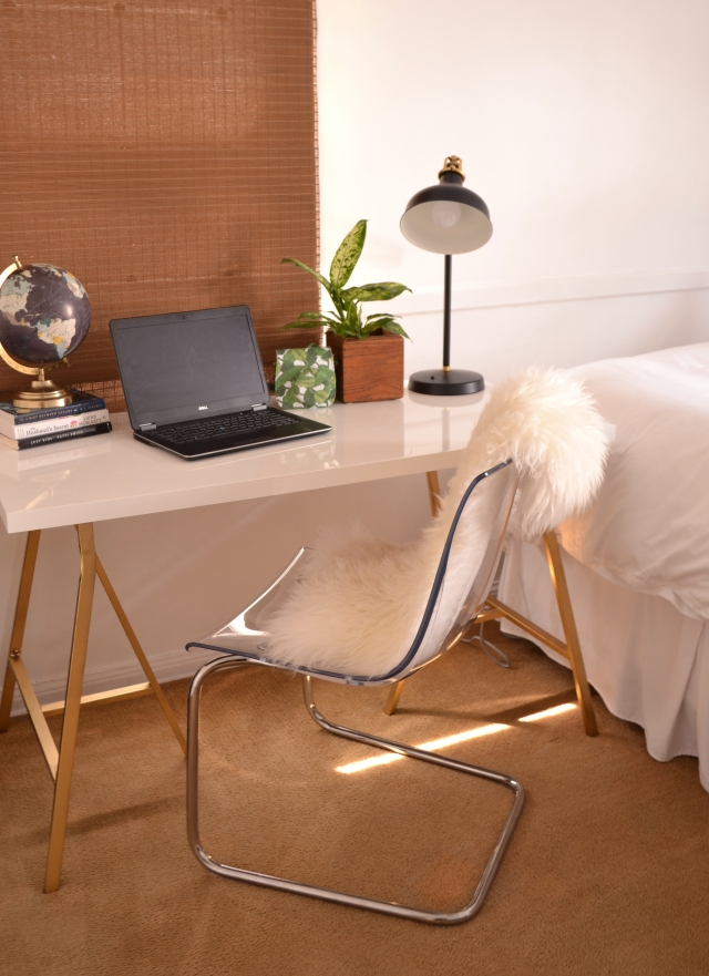 Guest Bedroom & Office space makeover. Before & After shared space - Interior Design. Ikea hack desk for a shared office space!
