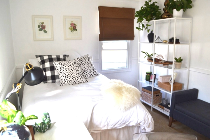 Guest Bedroom & Office makeover designed my Heather Knight-Willcock from CaliRose Lifestyle. Complete redesign and restyled in whites, metallics, greens and strong patterns.