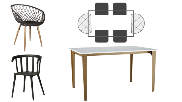 Dining room suggestions for a dark wood dining space - elegant dining table & dining chairs. Webbed dining chairs with Carrera marble and black dining chairs