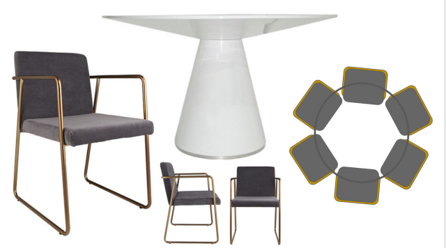 Dining room suggestions for a dark wood dining space - elegant dining table & dining chairs. White acrylic round dining table & upholstered grey dining chairs with brass