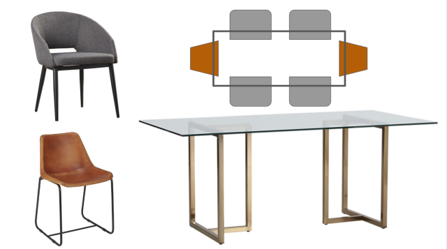 Dining room suggestions for a dark wood dining space - elegant dining table & dining chairs. Leather dining chairs & upholstered back dining chair. Glass and Brass dining table