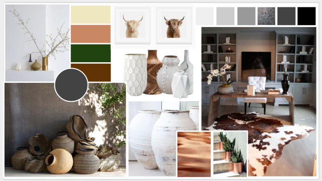 Mood Board - by Southern California Artist and Interior Designer Heather Knight-Willcock. Concept board for a Home Office makeover transformation. Mountain Modern