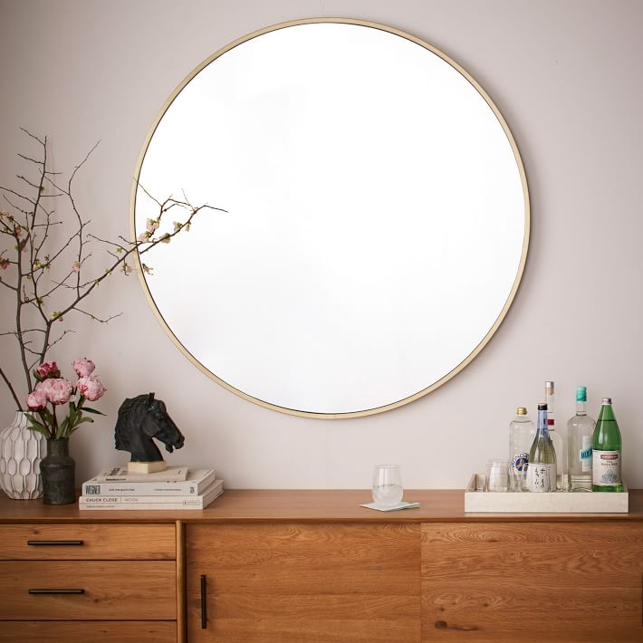 West Elm metal-framed-oversized-round-mirror-antique-brass-o