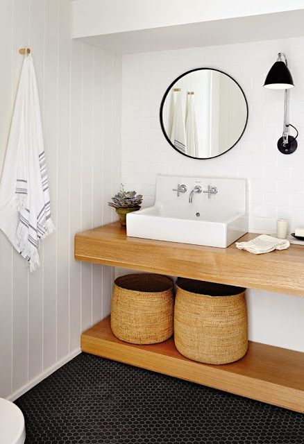 Chunky Wood Shelving, Round Mirror - Farmhouse Sink - wood panneling bathroom