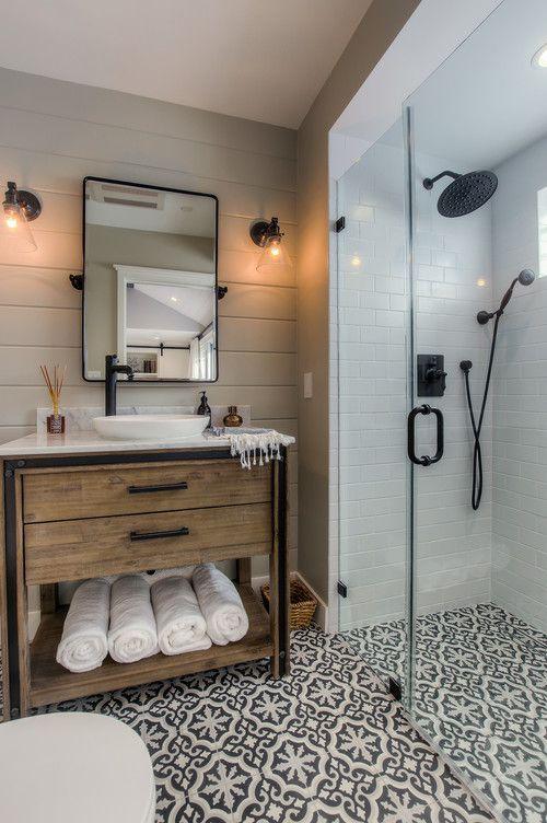 Patterend Tile with wood panneling bathroom. Black Steel trim bathroom - natural wood vanity