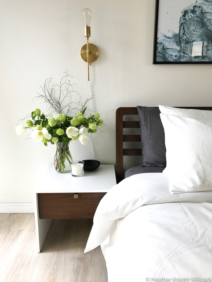blog - left side table with flowers, light