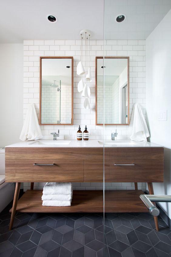 Mid Century bathroom vanity, Double sink, double mirror vanity. Hanging Chandelier in bathroom