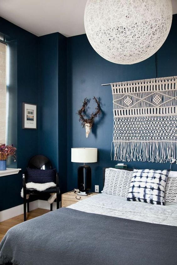 Blue Walls - woven wall tapestry