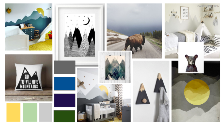 Concept board for Little Boys room nursery - Modern Mountain theme for childrens room. Mountains Bears Buffalo Teepee's