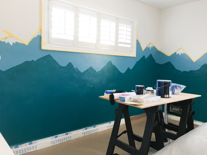 Before & After for Little Boys room nursery - Modern Mountain theme for childrens room. Mountains Bears Buffalo Teepee's