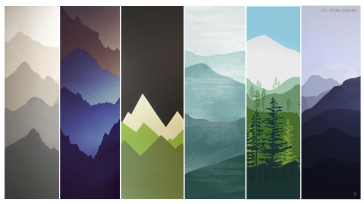 Concept board for Little Boys room nursery - Modern Mountain theme for childrens room. Mountains Bears Buffalo Teepee's