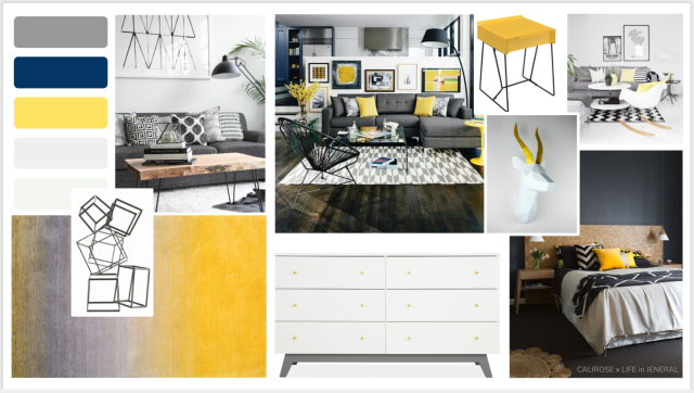 Grey and yellow bedroom concept - graphic and artistic style living room or lounge. Blue, yellow, Grey room. Dark grey room with cork and mural walls