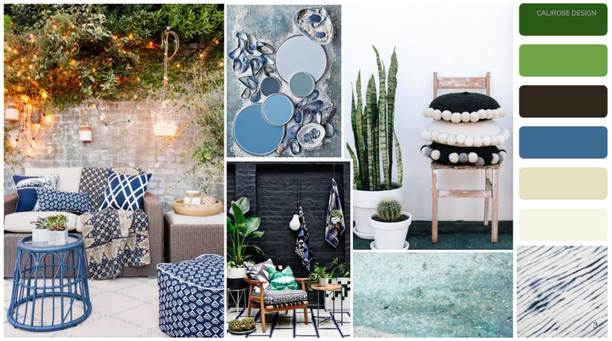Outdoor patio mood board - Boho outdoor patio space with plants, dark walls & blue cushions. Green outdoor space. Modern bohemian patio. Before & after patio outdoor space.