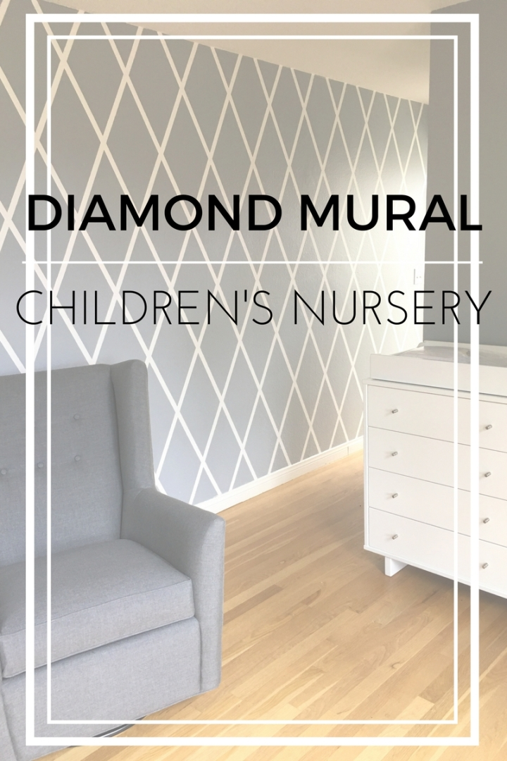 A hand painted nursery mural - diamond pattern mural in a little girls nursery. White and grey diamond pattern.