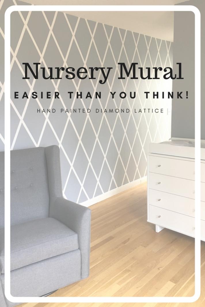 A hand painted nursery mural - diamond pattern mural in a little girls nursery. White and grey diamond pattern.