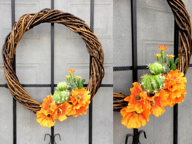 Autumnal succulent wreath made with orange poppies and faux succulent cactus on a wood wreath. holiday festive wreath - perfect for fall and autumn. DIY wreath for holiday decorations