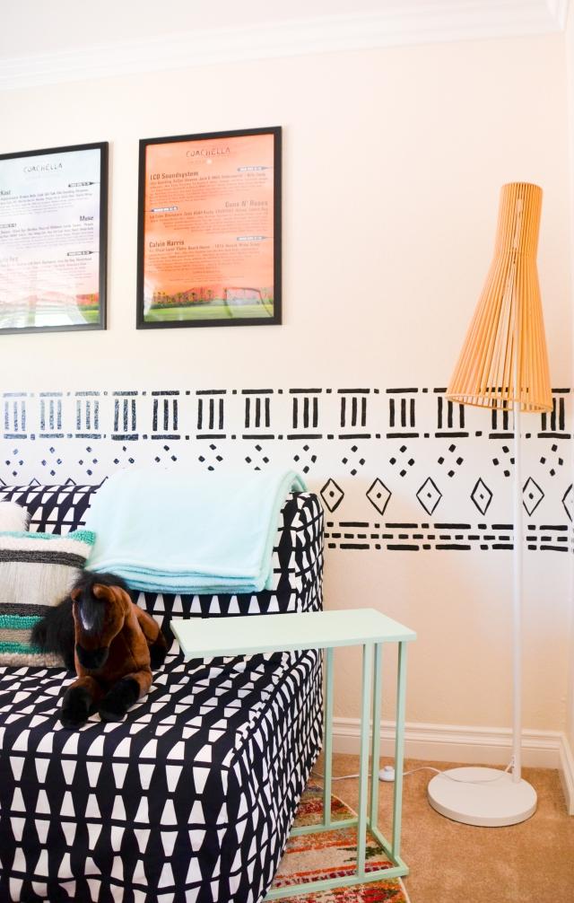 Little Girls playroom - fun, colorful playroom designed by Calirose Design in Southern California. Bohemian playroom. Mudcloth pattern wall mural - handprinted wall mural.