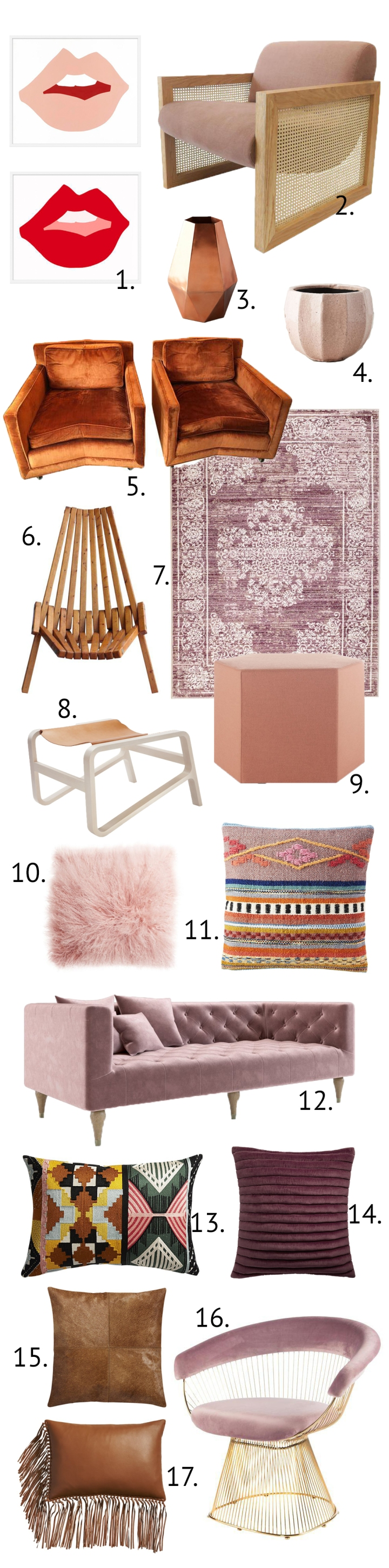 Shop the Look! Blush and tan might just be the next big interior design trend! Pink and leather. blush and tan living rooms