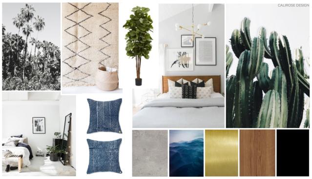 transitional modern california style bedroom. bohemian desert cactus concept board mood board.