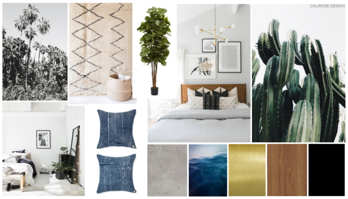 transitional modern california style bedroom. bohemian desert cactus concept board mood board.
