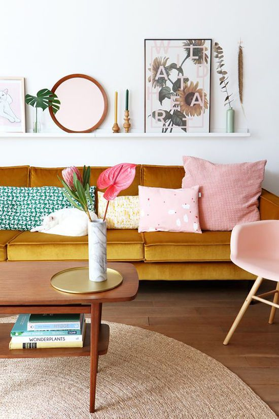 Blush and tan might just be the next big interior design trend! Pink and leather. blush and tan living rooms