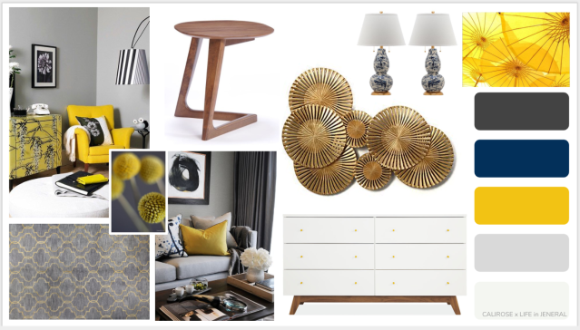 yellow home concept board. mood board with yellow and blue and grey