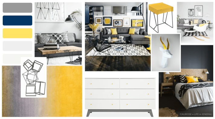 yellow home concept board. mood board