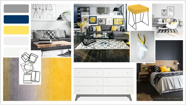 yellow home concept board. mood board