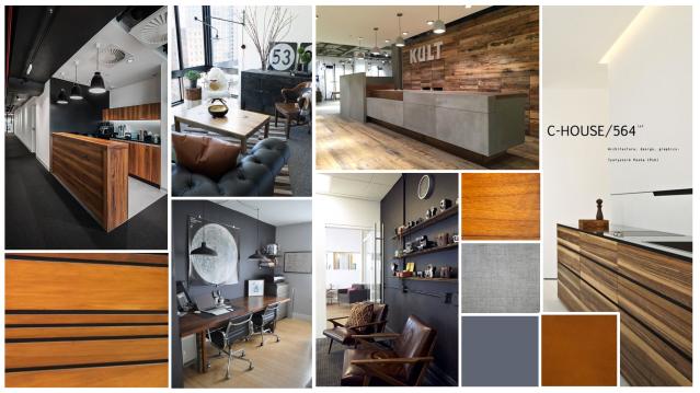 modern masculine office concept. office mood baord. wood panelling. venetian panels.