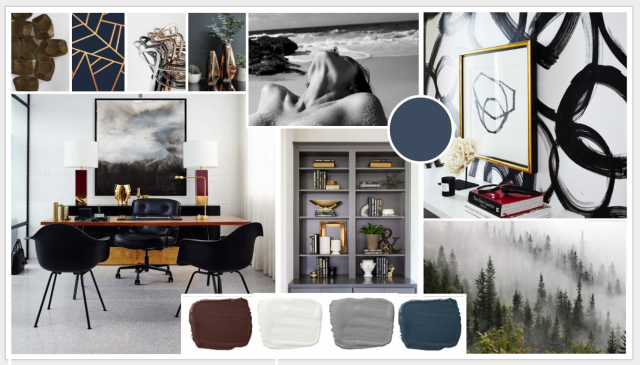 mature and bold office concept. dark and glam office mood board.