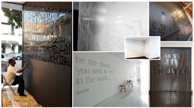 wall art concept board. wall art mood board. glossy words art on matt walls