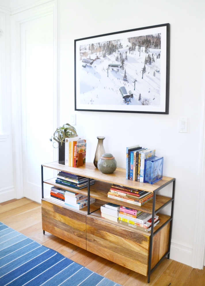 home office concept board - mood board. cool blue and warm wood home office space. layered textiles in a transitional modern office. home office before and after makeover. ski mountain chic. book styling. gray malin photographs
