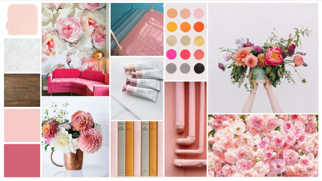 feminine office concept with pinks, blush and orange. girly office - home office concept. mood board