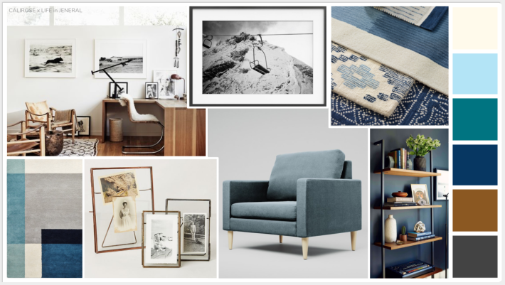 home office concept board - mood board. cool blue and warm wood home office space. layered textiles in a transitional modern office.