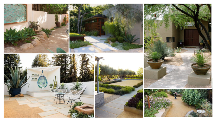 patio concept board. mood board for patio with decomposed granite and drought tolerant plants. california plants