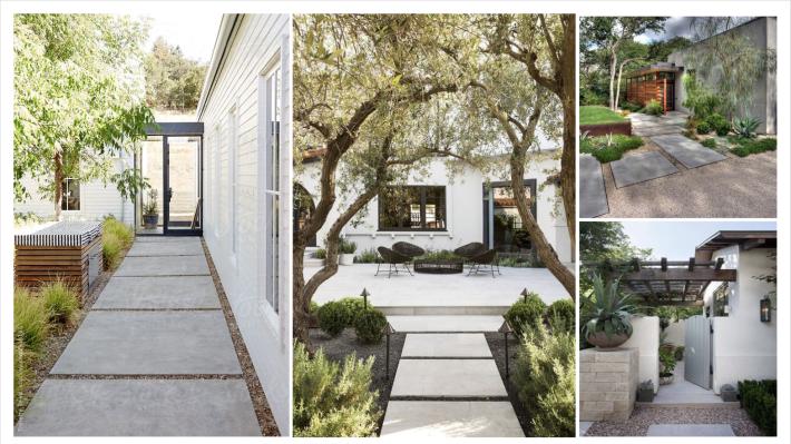patio concept. slab concrete pavers