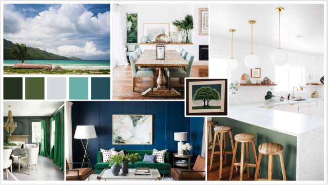 beachy home with blue and green concept board mood board. coastal home with natural elements and lots of green