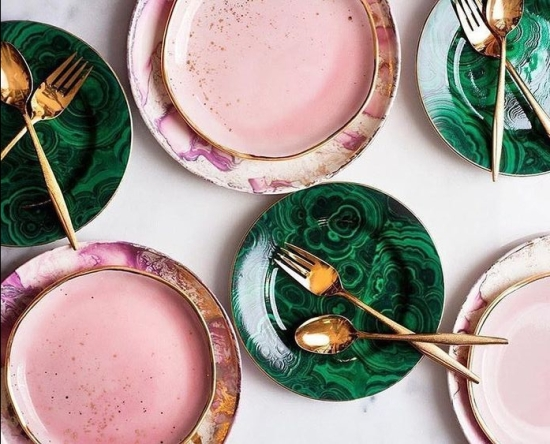 Boho glam mood board - concept board for a bohemian glam apartment dining room or house dining room. pink and green home
