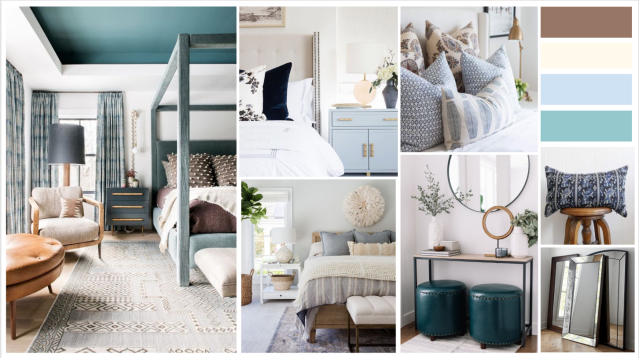 Relaxing california home with white and blue accents. Blue bedroom with a travelled bohemian style.