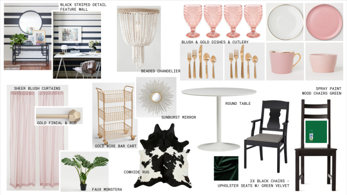 shop the look. Boho glam mood board - concept board for a bohemian glam apartment dining room or house dining room. pink and green home