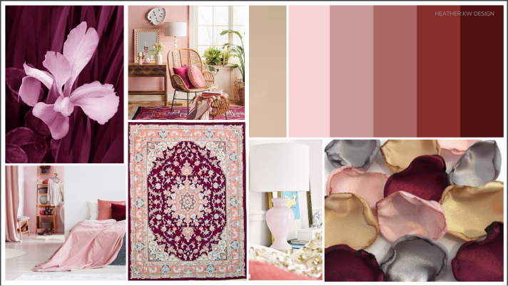 concept board and mood board for a romantic feminine room and bedroom. pink bedroom