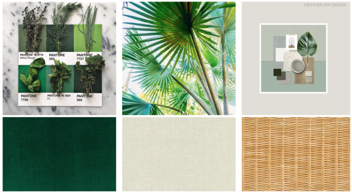 NEUTRAL AND GREEN COLOR THEME - MOOD BOARD - CONCEPT BOARD. RATTAN AND PLANTS