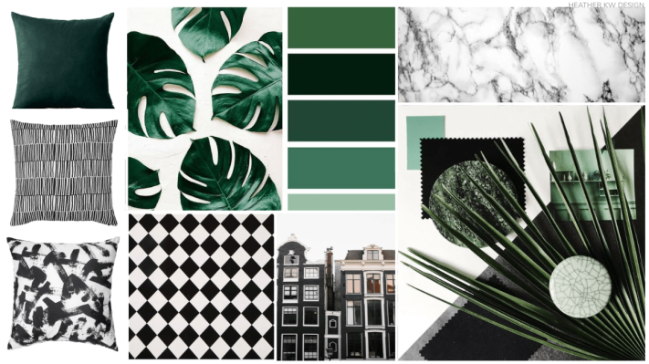 GREEN CONCEPT BOARD - GREEN MOOD BOARD. BLACK AND WHITE GRAPHIC MOOD BOARD. MONSTERA, MARBLE, CHECKERBOARD